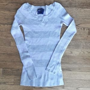American Eagle Long-Sleeve Striped Waffle Shirt S…